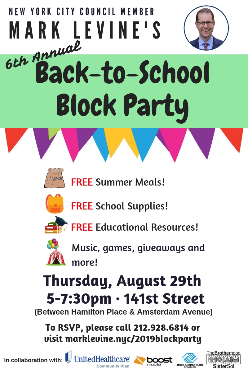 Council Member Mark Levine's 6th Annual Back-to-School Block Party