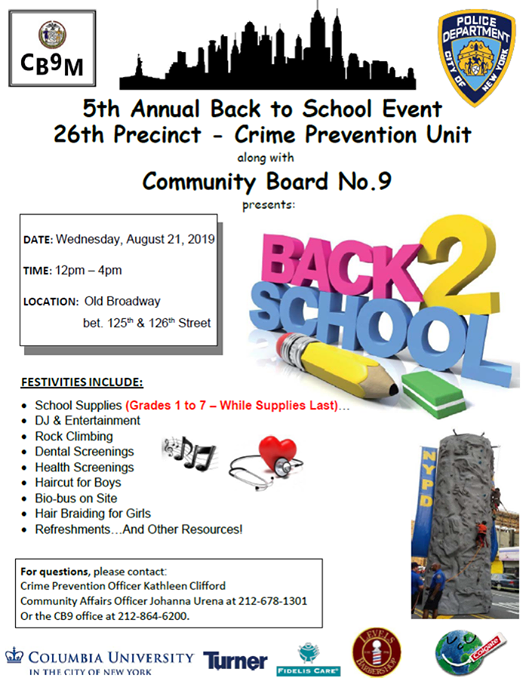 26th Precinct Back to School Event